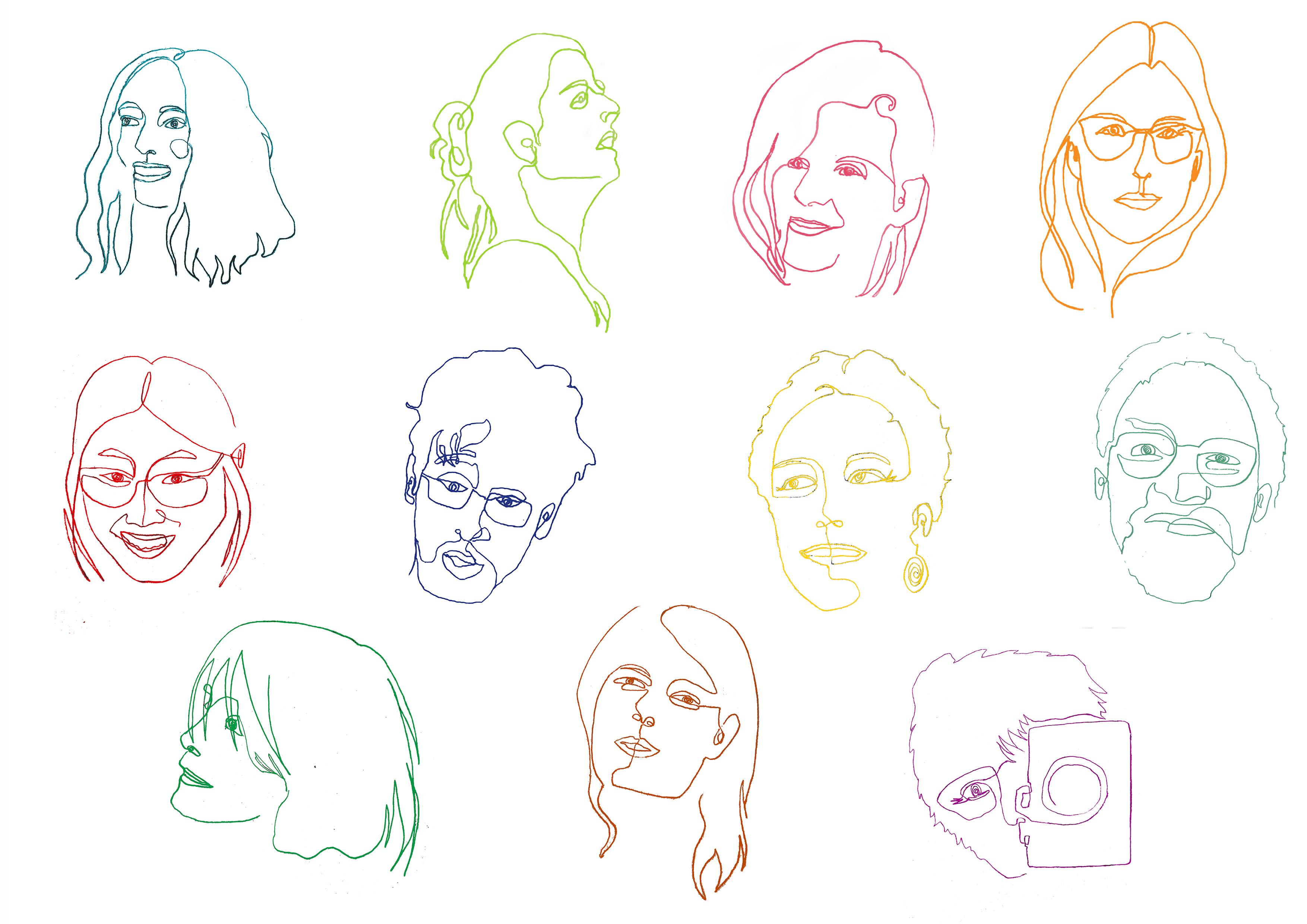 illustration des visages de l'équipe de Conte en Balade